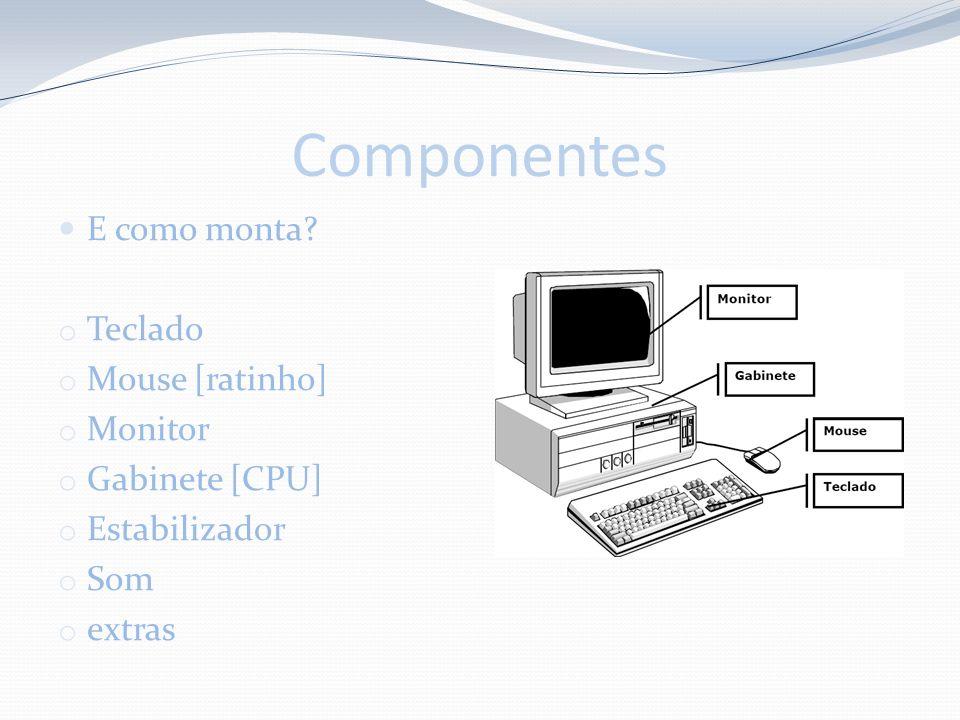Componentes E como monta Teclado Mouse [ratinho] Monitor